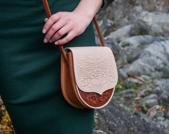 Leather mini purse, small feminine bag, foxy+ivory bag, hot tooled leather, bright shoulder bag, embossed leather purse, gift for girl