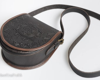 Shoulder leather bag, round crossbody bag, brown bag, genuine leather bag, tooled leather purse, hot tooled leather, unigue bag for her