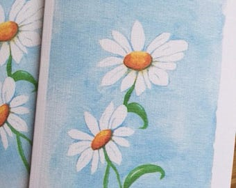 Daisy watercolor note card, set of 4