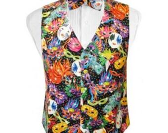 Bal Masque Mardi Gras Tuxedo Vest and Bow Tie