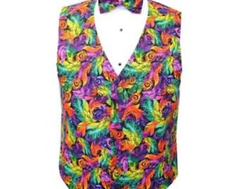 Mardi Gras Plumes Tuxedo Vest and Bow Tie