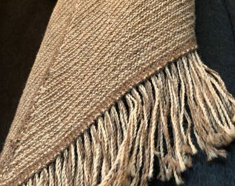 Alpaca Hand-Knitted Scarf, Dramatic Angle with Fringe, Subtle Stripe Pattern Mens & Womens
