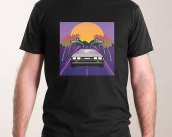 Black Retro DeLorean T-Shirt