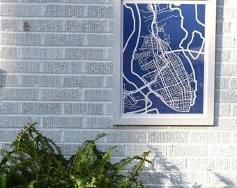 Charleston, SC map 18x24 laser-cut print, white on indigo