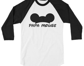 Papa Mouse Mickey Men's 3/4 sleeve raglan shirt