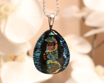 Funky Dichroic Glass Necklace // Boho