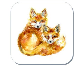Two Foxes Coaster (Corked Back) - from an original Sheila Gill Watercolour Painting