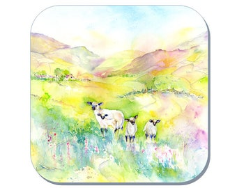 Springtime Lambs - Sheep Coaster (Corked Back) - from an original Sheila Gill Watercolour Painting