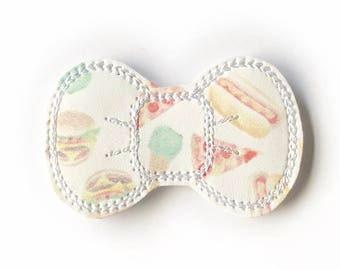 Junk Food Embroidery Bow Snap Clip - Faux Leather - Snap Clips - 50mm Clips - 2.5 inches - Embroidery Bow - Hair Bows