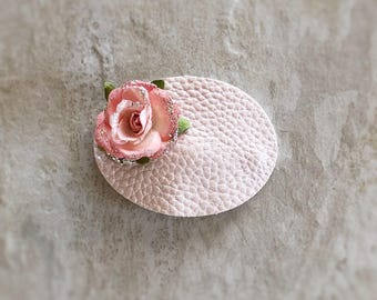 Pearl Oval Floral Snap Clip - Chunky Glitter - Prima Flowers - Faux Leather - Snap Clips - 50mm Clips