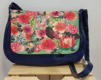 blue leather and floral flap Messenger bag