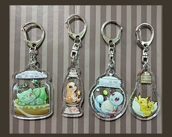 Pokemon glass tank keychains