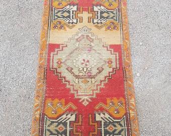 "Antique Turkish Rug,Vintage rug - 3'4"" * 1'9"" feet  ,101*53 cm,small bohemian rug,wedding rug,mat rug"
