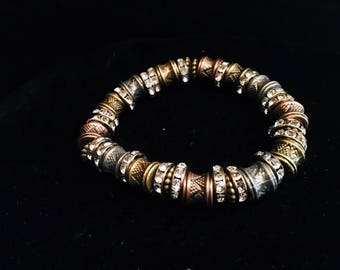 Mixed Metal and Crystal Beaded Bracelet