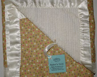 Baby Blanket - Cotton Chenille with Satin - Polka Dot
