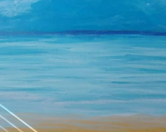 Original Acrylic Painting Life Is A Beach Im Just Playing In The Sand