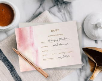 30 Pink Watercolour Water RSVP
