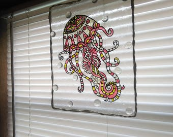Jelly fish stained glass sun catcher