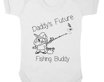 Baby Bodysuit - Novelty - Daddy's Fishing Buddy - Available from 0 to 12 months in blue, pink or white.