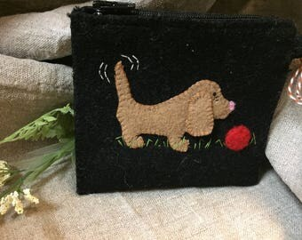 Cute wool dog coin purse or credit card wallet.