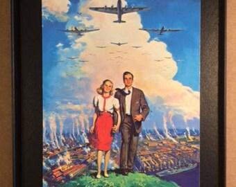 Vintage American Way of Living Ideal Framed Post Card