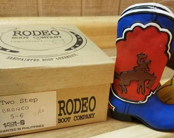 Set of Rodeo Boot Company Department 56 cowboy bronco boots with box