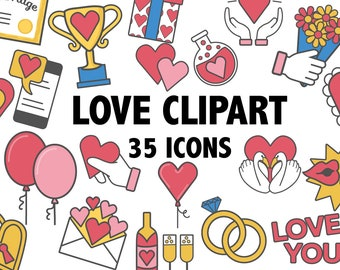 LOVE CLIPART - heart clipart - Valentines Day clipart - love clip art - love icons - Valentine clipart, hearts clipart - Instant Download