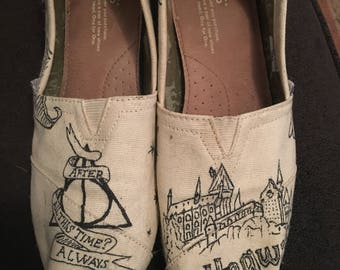 Harry Potter Toms, size 8 Women's, hand drawn original designs, one of a kind