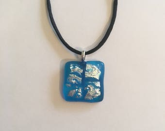 Sea blue with fire glass necklace