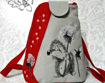 Textile Backpack Embroidered Shoulder Bags Multifunctional Travel Backpack Bag for Girls Backpack for School Women's Backpacks Red Hedgehog