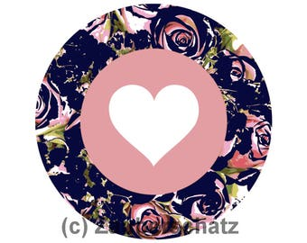 Digital graphics file png for download-heart label round shape rose pattern dark blue eg for sticker-Private & commercial use
