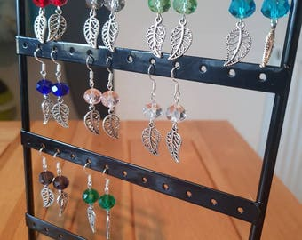 Glass Bead and Leaf Earrings