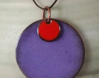 purple enamel pendant