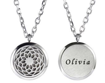Personalized Diffuser Necklace Jewelry - Engraved Aromatherapy Necklace - Stainless Steel Essential Oil Diffuser - Essential Oil Necklace
