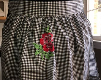 Vintage Apron with hand stitched flowers