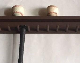 Baseball Bat Rack Display Holder 6 Full Size Bats 6 Balls Brown