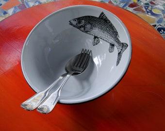 "Enamel Bowl Mexican Fish Original Art Work Contemporary Design ""Sip of the Sea"""