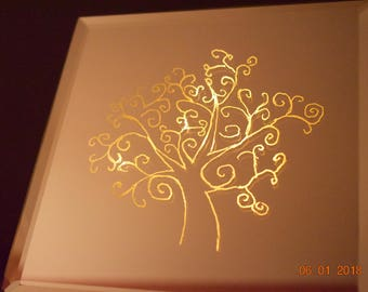 Tree, Mirror Picture, Wedding, Communion, Birthday, Present, Decoration, Wall, Living, Lighting