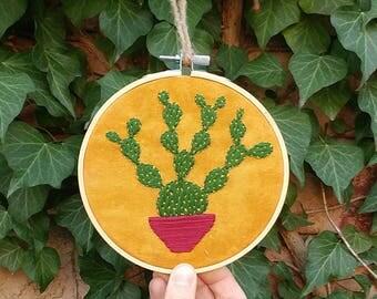 """Please Love Me - Cactus Embroidery in 5"""" Hoop"""