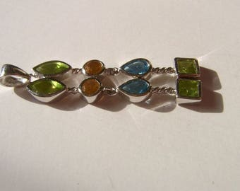 Pendant with Blue Topaz, Peridot and Citrine, geometrical, minimalist
