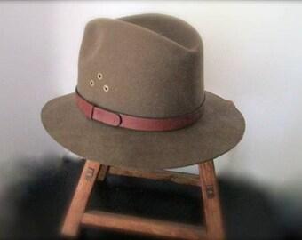 Vintage Khaki Brown Fedora Hat Wool Felt Country Gentleman Size Large  1970