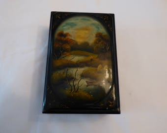 Hand Painted and Laquered trinket box.