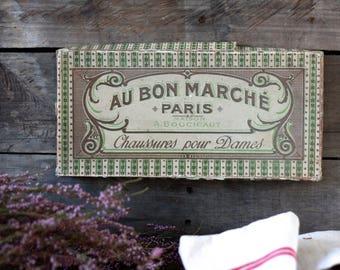 French antique cardboard box. Haberdashery accessories. French Haberdashery display. French haberdashery. Antique French box. French box