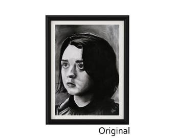 """11.69"""" x 16.53"""" Portrait drawing of Maisie Williams as Arya Stark in charcoal on paper"""