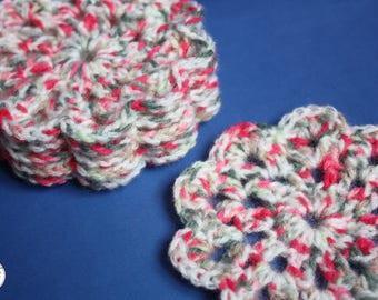 Crochet Flower Peppermint Wool Coasters