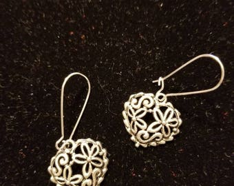 Boutique...Order Now for Valentine... Silver Alloy Center Embossed Heart Earrings