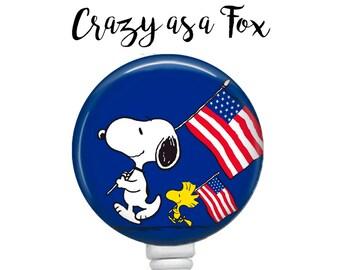 Snoopy Patriotic Retractable Badge Holder, Badge Reel, Lanyard, Stethoscope ID Tag, Nurse, RN, Doctor, Teacher, Nursing student