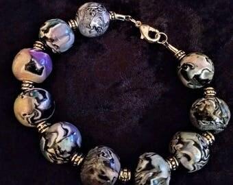 Bracelet, multi color.  Premo clay