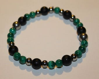 Malachite and Onyx mens bracelet