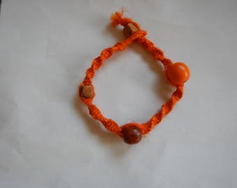 Orange Hemp Bracelet with Beads
